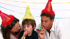 Family playing together during a birthday party Stock Footage