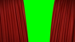 Stock Video Footage of Opening and closing red curtain