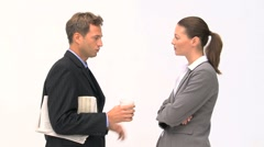 Coworkers talking together about their tasks Stock Footage