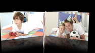 Animation of families celebrating children birthday Stock Footage