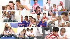 Montage of families doing various things Stock Footage