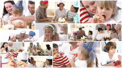 Animation of families celebrating birthday together Stock Footage