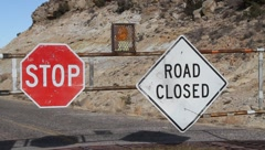 Road Closed Sign Stock Footage
