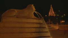 Statue at Piazza del Popolo Christmas Timelapse Stock Footage