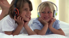 Animation of two children listenning music Stock Footage