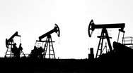 Stock Video Footage of working oil pumps silhouette