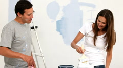Stock Video Footage of Happy couple renovating an apartment