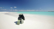 Diving equipment on sandy beach Stock Footage