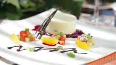 Close up of dessert in sunshine Stock Footage