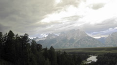 Time lapse motion of thunderstorm forming over the Teton Range in Grand Teton Stock Footage