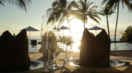 Stock Video Footage of dining table at sunset