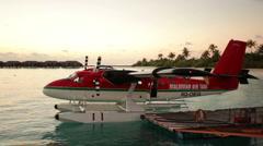 Waterplane at landing pier Stock Footage