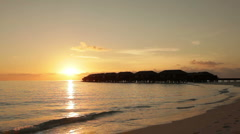 Sunset at tropical lagoon Stock Footage