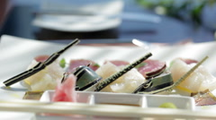 Close up of raw seafood on plate Stock Footage