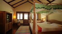 pan shot of tropical resort suite - stock footage
