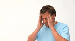 Man having a migraine - stock footage