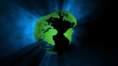 Seamless rotating earth with ray of light - stock footage