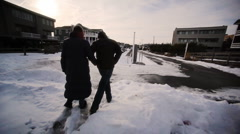 Couple in the Snow Stock Footage