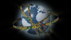 Globe spinning with orbiting stock market tickers Stock Footage