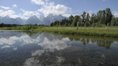 Fast time lapse of clouds at Schwabacher Landing in Grand Teton National Park Stock Footage