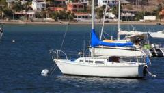 Boats at bay in San Carlos, Mexico (HD)m Stock Footage