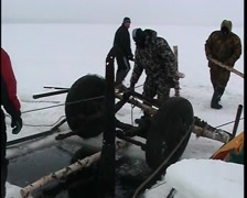 Sunken cars on Lake Ladoga Stock Footage