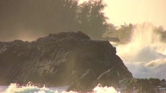 Big Surf crashes on rocks giant spray HD  - stock footage
