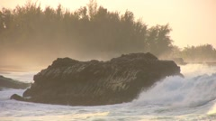Big Waves Breaking on Big Rocks HD, scenic, coastal Stock Footage