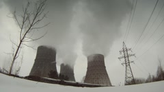 Cooling towers timelapse 3 Stock Footage