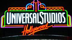 Universal Studios Hollywood Sign -Night Stock Footage