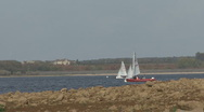 Stock Video Footage of Dinghies turn in formation on Rutland Water.
