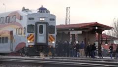 People boarding train 0834 Stock Footage