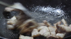 Chinese food: Cooking meat Stock Footage
