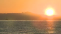 Close-up time lapse of sun setting over the Channel Islands Stock Footage