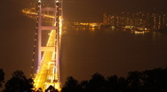 Stock Video Footage of Tsing Ma Bridge at Night (Time-Lapse)