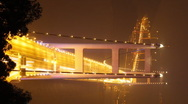 Tsing Ma Bridge at Night (Time-Lapse) Stock Footage