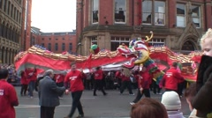 Chinese New Year Dragon Dance and Drums Stock Footage