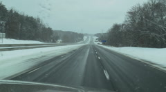 Snowy interstate 02 - stock footage
