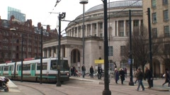 Manchester Central Library and Tram Stock Footage