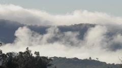 Time lapse of fog and clouds over Sulphur Mountain in Ojai, California. Stock Footage