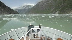 Point of view time lapse of a ship cruising down Tracy Arm Stock Footage