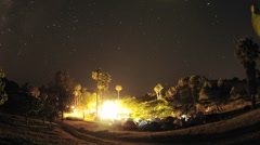 Zoom out of night time lapse of a wedding campout in Gaviota, California. Stock Footage