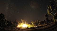 Night time lapse of a wedding campout in Gaviota, California. Stock Footage
