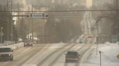 Weather, very cold winter day traffic long shot, ice fog hanging Stock Footage