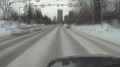 POV, very cold winter day city driving in downtown, timelapse - stock footage