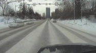 Stock Video Footage of POV, very cold winter day city driving in downtown, timelapse
