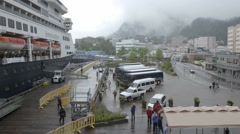 Time lapse of passengers disembarking from a cruise ship in Juneau, Alaska. Stock Footage