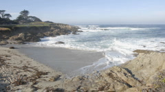 Time lapse of waves breaking at Cypress Point on 17-mile drive in Carmel Stock Footage