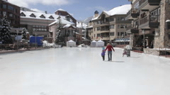 Time lapse of ice skaters in Beaver Creek, Colorado. Stock Footage
