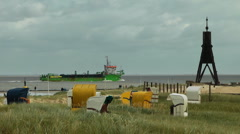 Elbe river at Cuxhaven Stock Footage